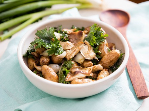 Harbinger of Spring: Roasted Potato and Kale Salad With Marinated Mushrooms