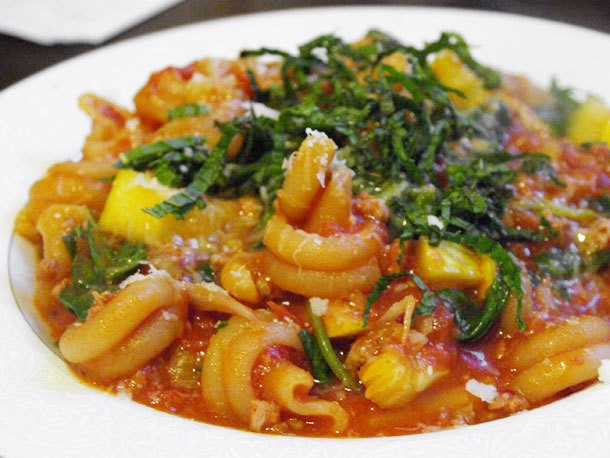 Skillet Pasta with Sausage, Squash, and Spinach Recipe