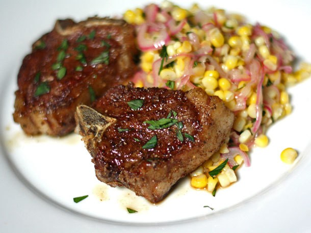 Spice Rubbed Lamb Chops with Corn Salad Recipe