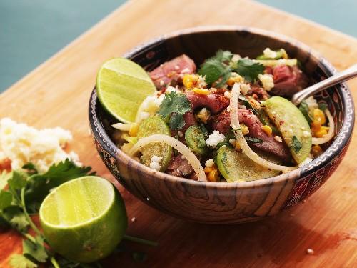 Steak and Corn Salad With Tomatillos and Ancho-Chili Vinaigrette Recipe