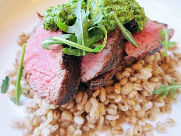 Charred Beef Tenderloin With Cacio e Pepe Toasted Barley and Watercress Pesto Recipe