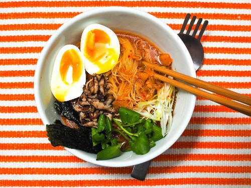 Quick Kimchi Ramen With Shiitake Mushrooms and Soft-Cooked Egg Recipe