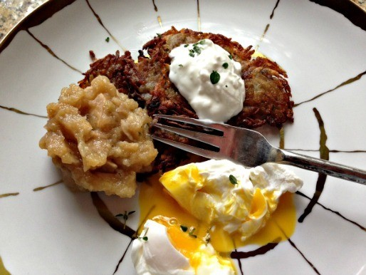Sunday Supper: Potato Pancakes With Oven-Roasted Thyme Applesauce, Sour Cream, and Poached Eggs