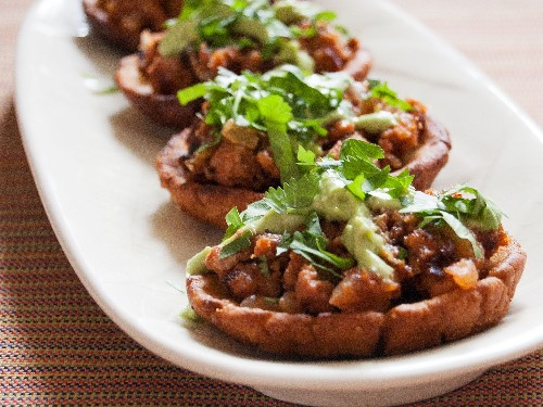 Potato-Chorizo Sopes With Avocado Crema Recipe