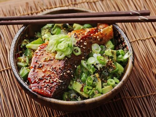 Easy Teriyaki-Glazed Salmon, Cucumber, and Avocado Rice Bowls Recipe