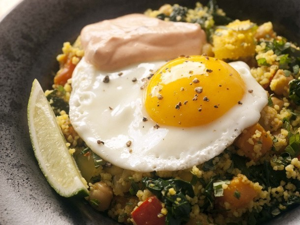 Braised Chickpeas and Vegetables with Couscous, Harissa Yogurt, and Soft Eggs from 'Flour, Too'