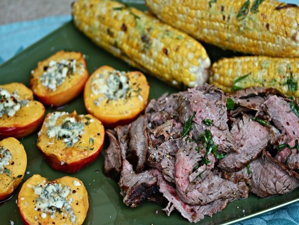 Flank Steak With Blue Cheese-Honey Nectarines and Basil-Buttered Corn Recipe
