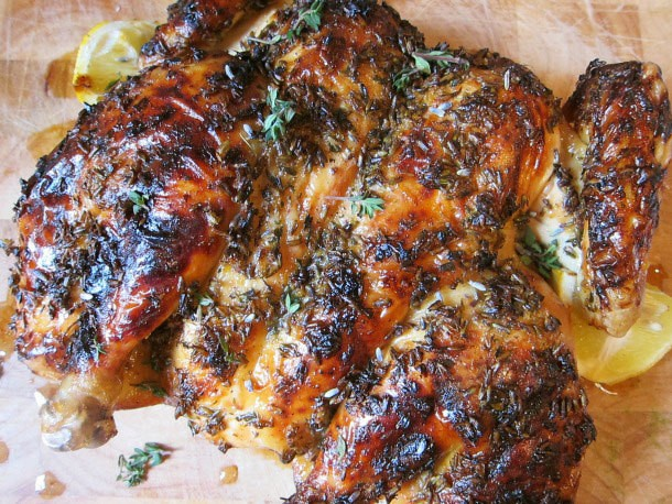 Lavender, Lemon, and Honey Spatchcocked Roast Chicken
