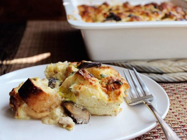 Chicken, Leek, and Mushroom Strata Recipe