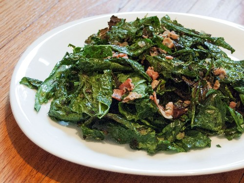 Grilled-Kale Salad With Warm Bacon Vinaigrette Recipe