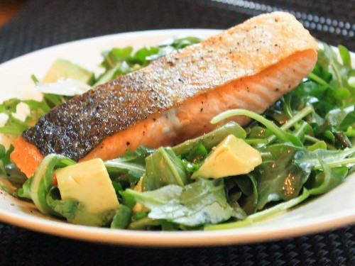 Pan-Roasted Salmon With Arugula and Avocado Salad Recipe
