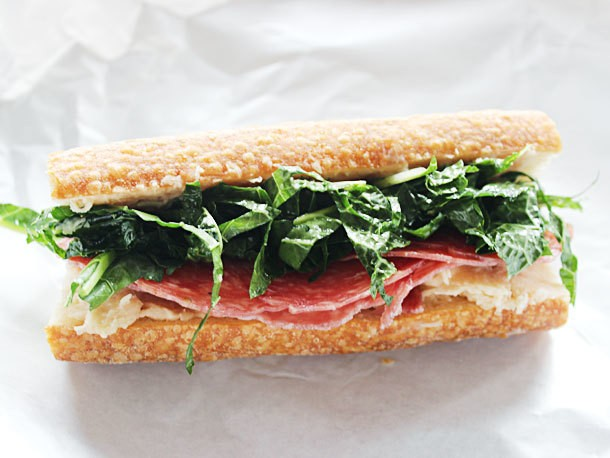 "Lunch Box: Make-Ahead Salami Sub with White Bean Spread and ""Kale-Slaw"""