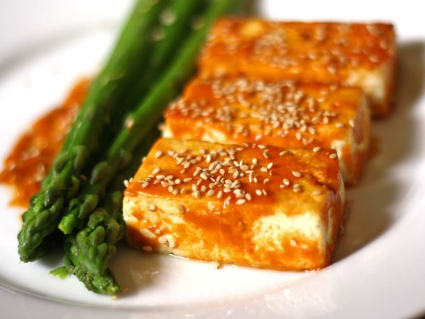 Broiled Tofu with Miso Glaze and Asparagus Recipe
