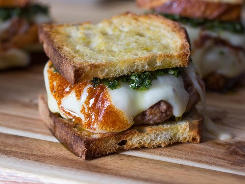 Argentine Asado Burgers With Seared Provolone and Chimichurri Recipe