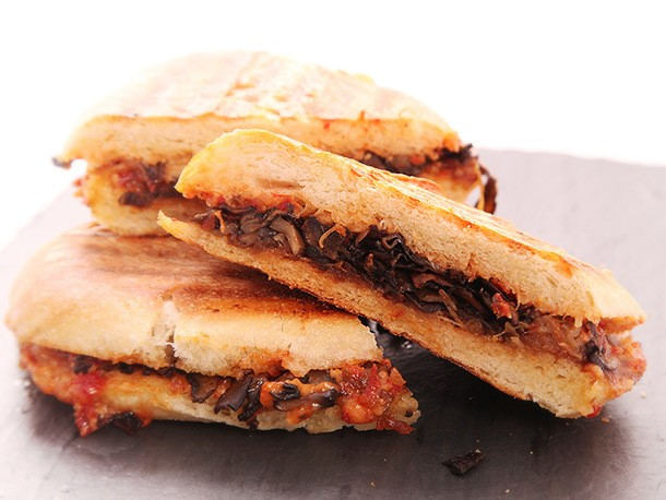 Vegan: Caramelized Onion and Mushroom Panini With Sun-Dried Tomato Mayonnaise