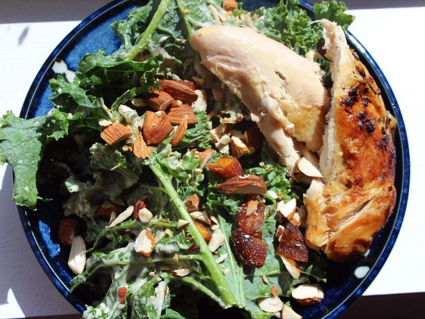 Make-Ahead Roast Chicken and Kale Salad with Tahini, Apricots, and Almonds Recipe