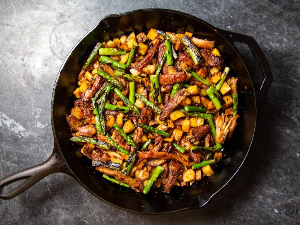 Crispy Pork Shoulder Hash With Charred Asparagus and Serrano Chili Recipe