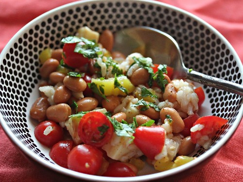 Pinto Bean and Rice Salad With Tomatoes and Cheddar in Banana Pepper-Chili Vinaigrette Recipe