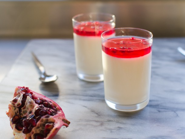 Toasted Coconut Panna Cotta with Hibiscus and Pomegranate Recipe