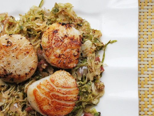 Seared Scallops With Pancetta and Brussels Sprouts Recipe