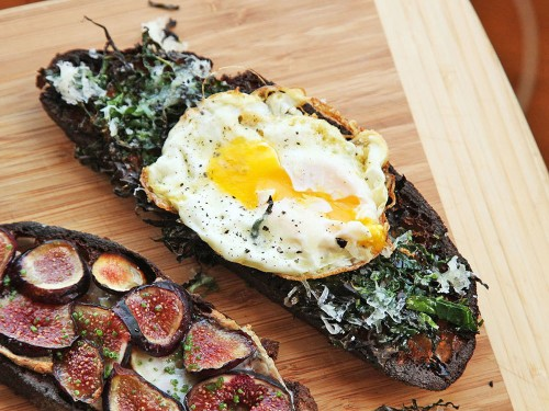 Kale, Parmesan, and Fried Egg Tartine Recipe