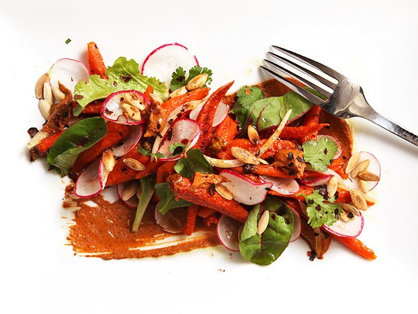 Vegan: Roasted Carrot Salad With Peanut-Sesame Mole