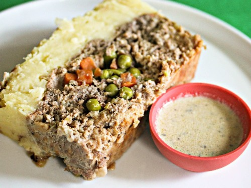 Shepherd's Pie Meatloaf With Parmesan Potato Crust and Stilton Sauce Recipe