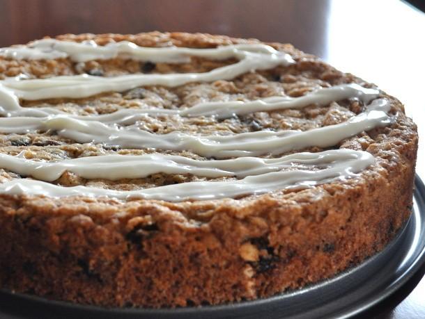 Iced Oatmeal Raisin Cookie Pie Recipe