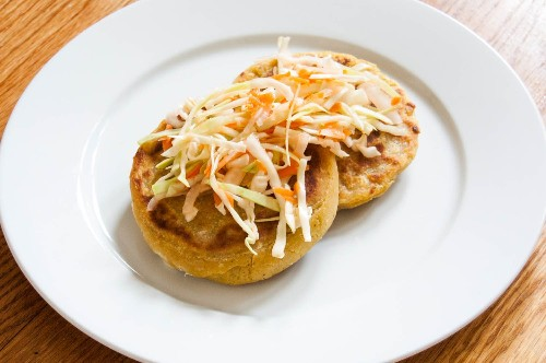 Cheese and Bean Pupusas (Salvadoran Stuffed, Griddled Tortillas) with Cabbage Slaw Recipe