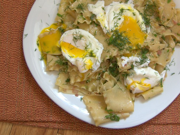 Torn Pasta Sheets With Brown Butter, Herbs, and Poached Eggs Recipe