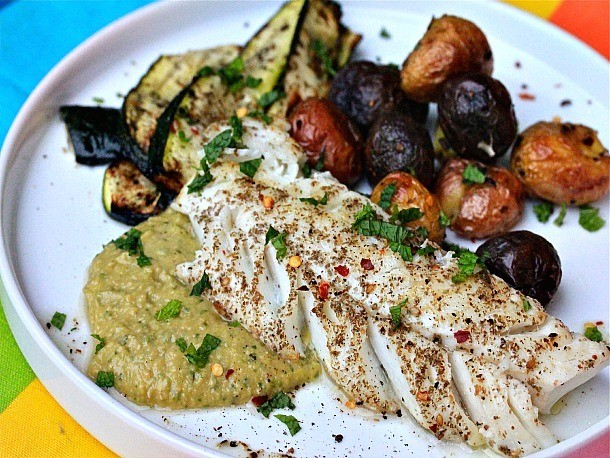Za'atar-Rubbed Cod With Spicy Chickpea Puree and Grilled Zucchini Recipe