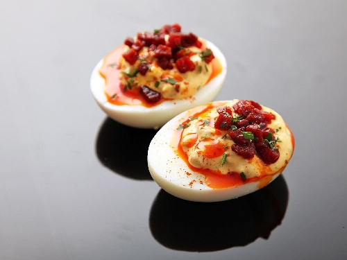 Deviled Eggs With Crispy Chorizo, Chorizo Oil, and Smoked Paprika Recipe