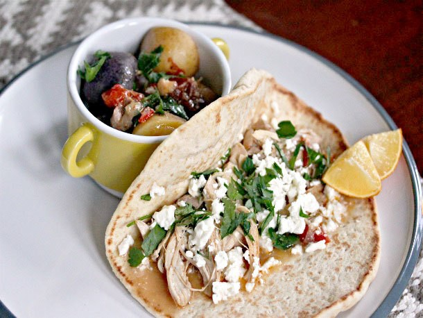 Sunday Supper: Mediterranean Chicken, Feta, and Herb Wrap With Stewed Potatoes