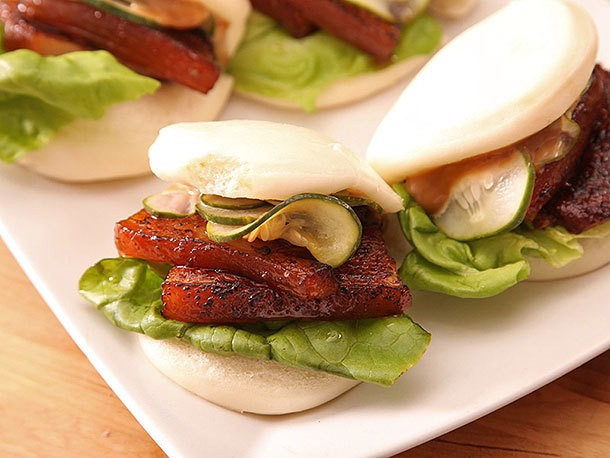 Sous Vide Pork Belly Buns With Pork Braise Mayonnaise and Quick-Pickled Cucumbers Recipe