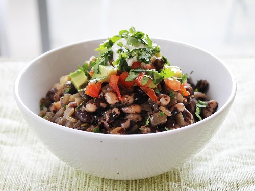 Black Nightfall Beans With Red Chili Pods, Tomatoes, and Avocado From 'The New Vegetarian Cooking for Everyone'