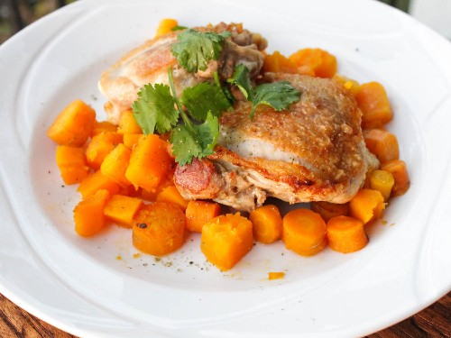 One-Pot Wonders: Pan-Seared Chicken Thighs With Butternut Squash and Carrots
