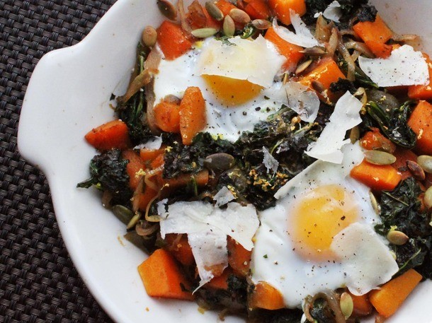 One-Pot Wonders: Baked Eggs With Butternut Squash and Kale
