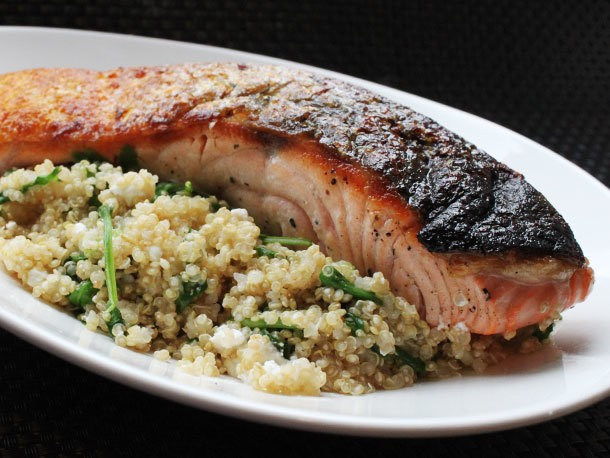 Skillet Salmon With Quinoa, Feta, and Arugula Recipe