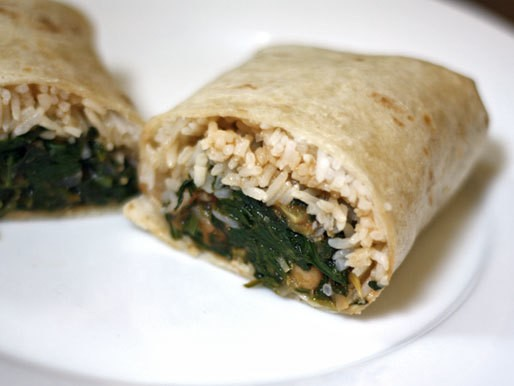 Dinner Tonight: Indian Burrito with Spinach, Chickpeas, and Tomato