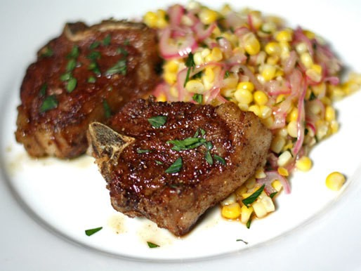 Dinner Tonight: Spice Rubbed Lamb Chops with Corn Salad