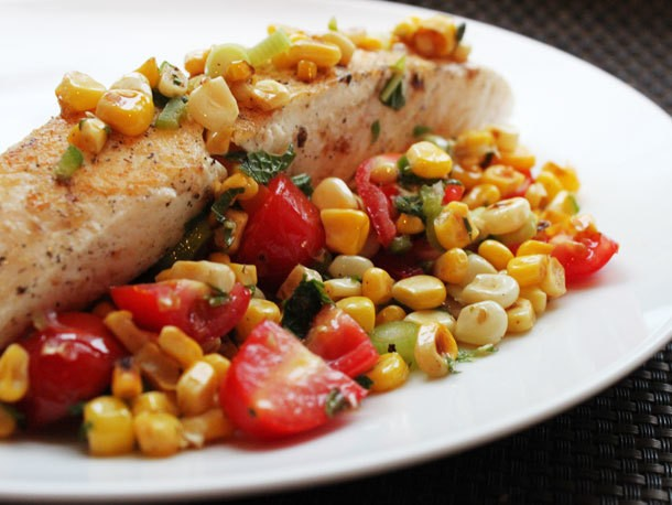 Skillet Halibut With Charred Corn Salad Recipe