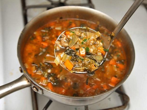 Hearty Escarole, Barley, and Parmesan Soup Recipe