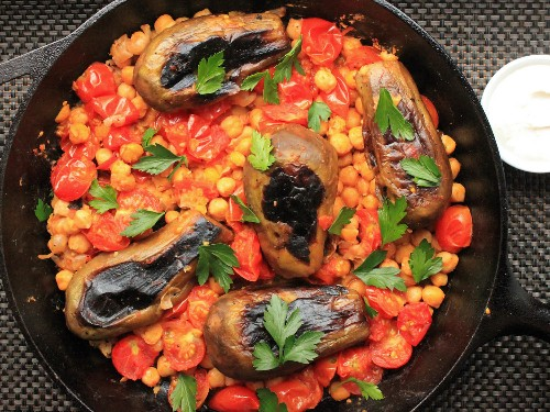 One-Pot Wonders: Stovetop Eggplant With Harissa, Chickpeas, and Cumin-Yogurt