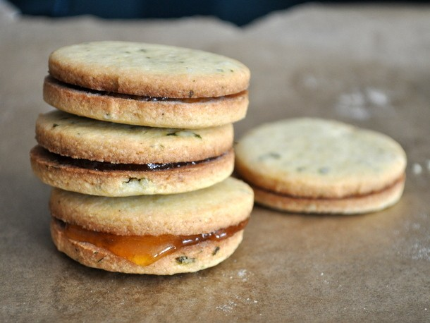Cookie Monster: Basil Cornmeal Sandwich Cookies with Apricot Filling