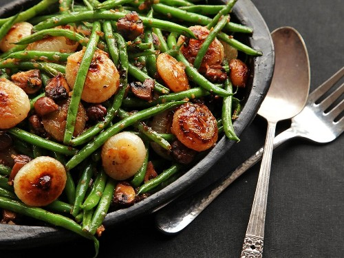 Sautéed Green Beans With Mushrooms and Caramelized Cipollini Onions Recipe