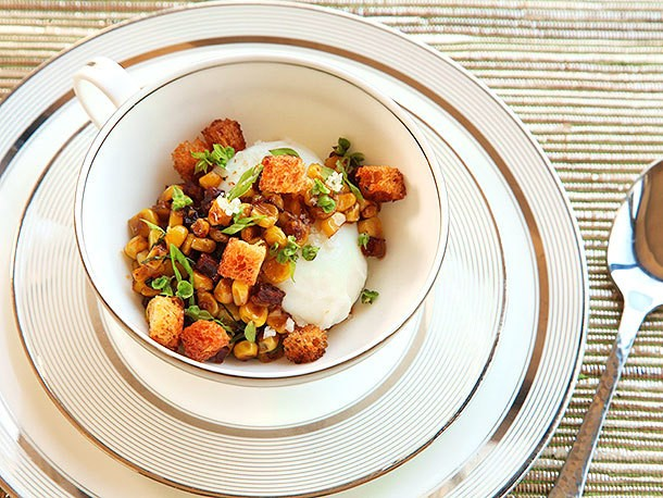 Poached Eggs With Corn, Chorizo, Basil, and Brioche Croutons Recipe