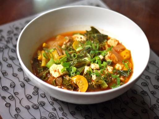 Dinner Tonight: Squash, Shiitake, and Kale Kimchi Stew