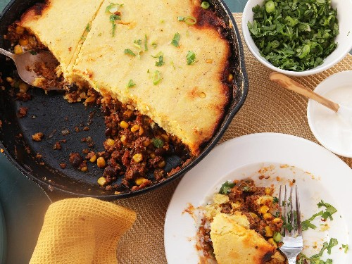 Quick and Easy Skillet Tamale Pie With Brown Butter Cornbread Crust Recipe