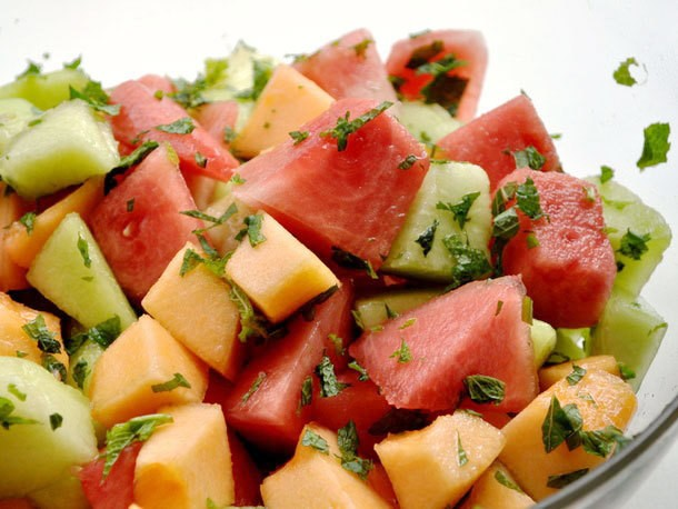 Three Melon Salad with Mint Recipe
