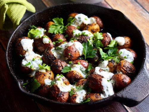 Skillet Potatoes With Cajun Blackening Spices and Buttermilk-Herb Sauce Recipe